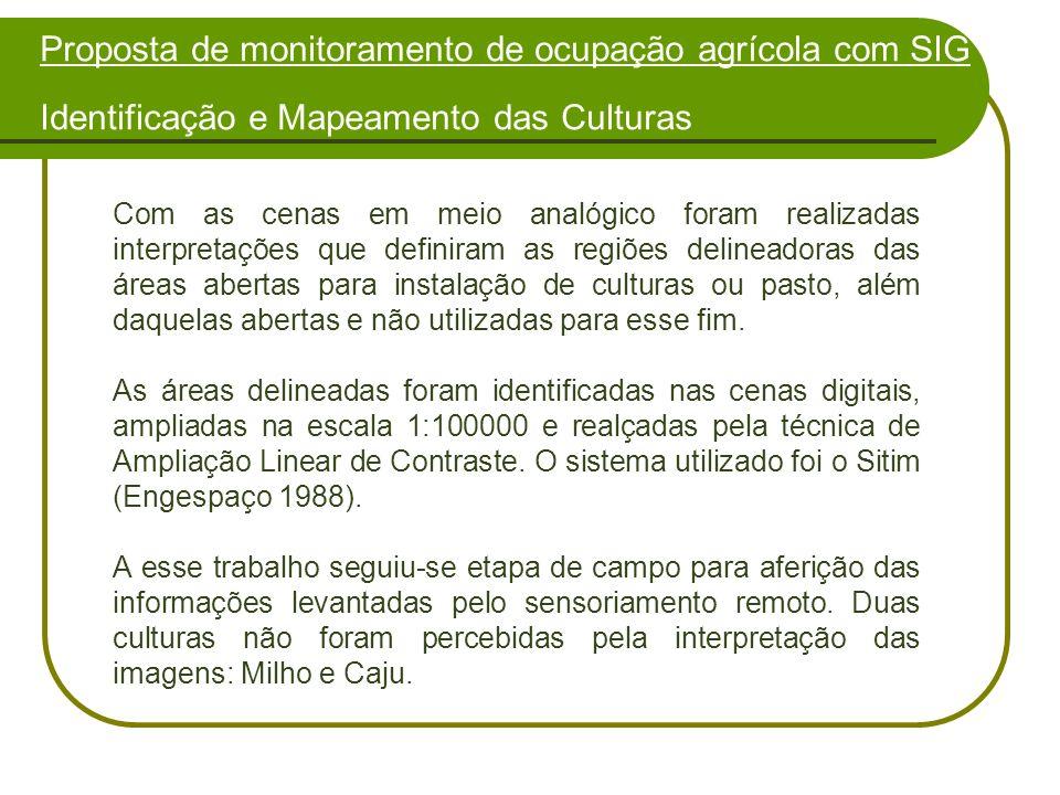 Proposta de monitoramento de ocupação agrícola com SIG Identificação e Mapeamento das Culturas