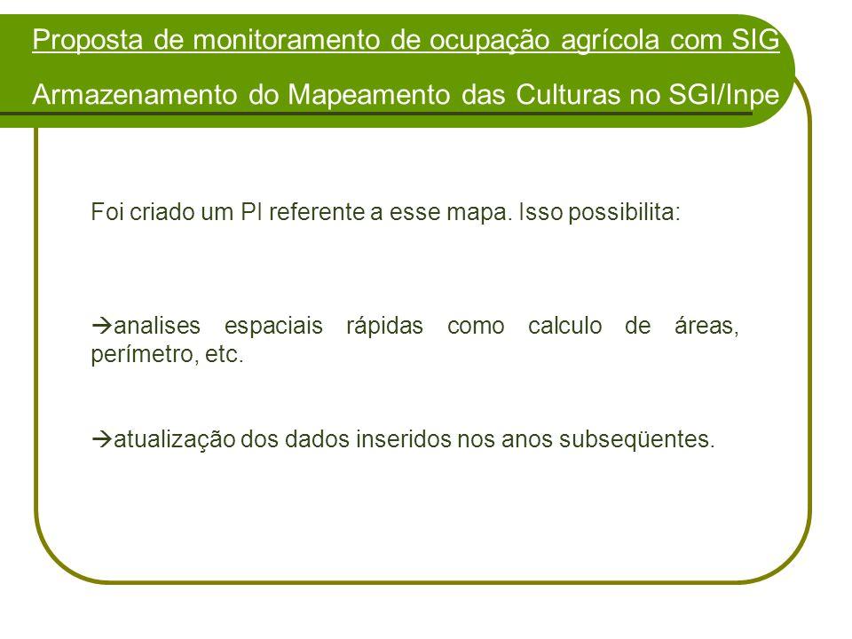 Proposta de monitoramento de ocupação agrícola com SIG Armazenamento do Mapeamento das Culturas no SGI/Inpe
