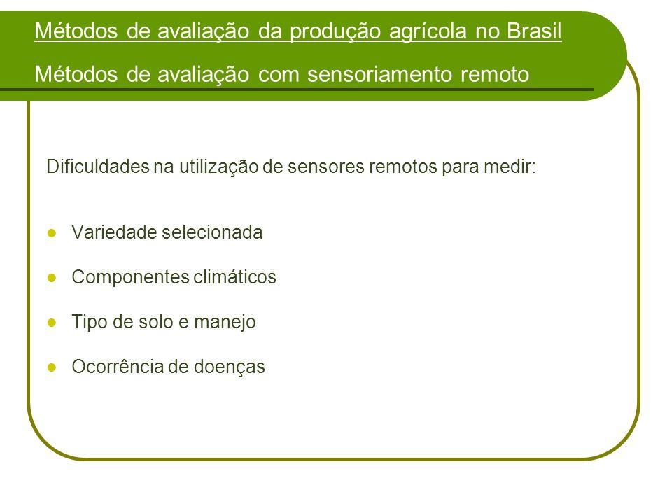 Métodos de avaliação da produção agrícola no Brasil Métodos de avaliação com sensoriamento remoto