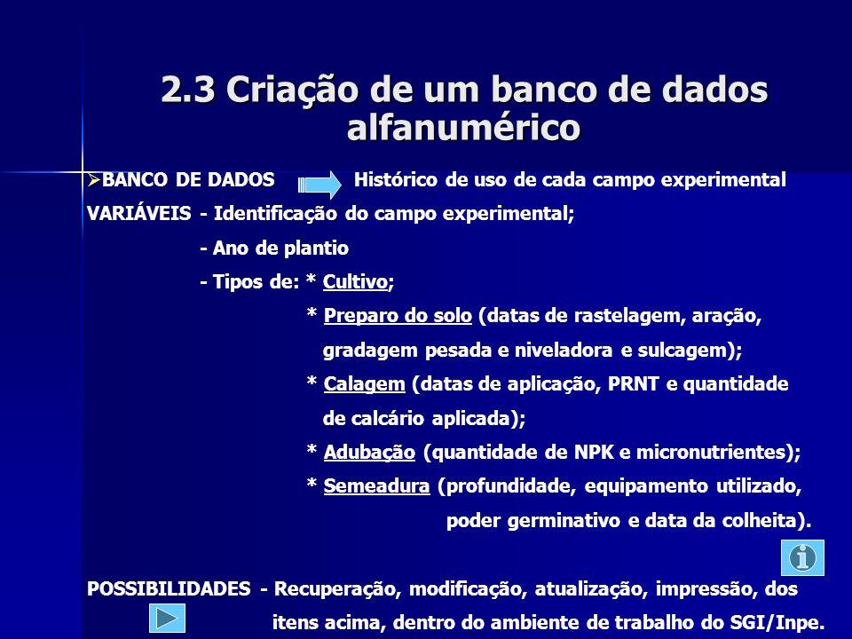2.3 Criação de um banco de dados alfanumérico