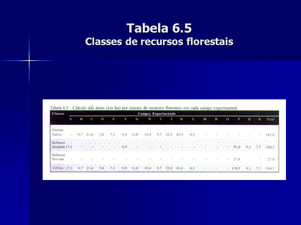 Tabela 6.5 Classes de recursos florestais