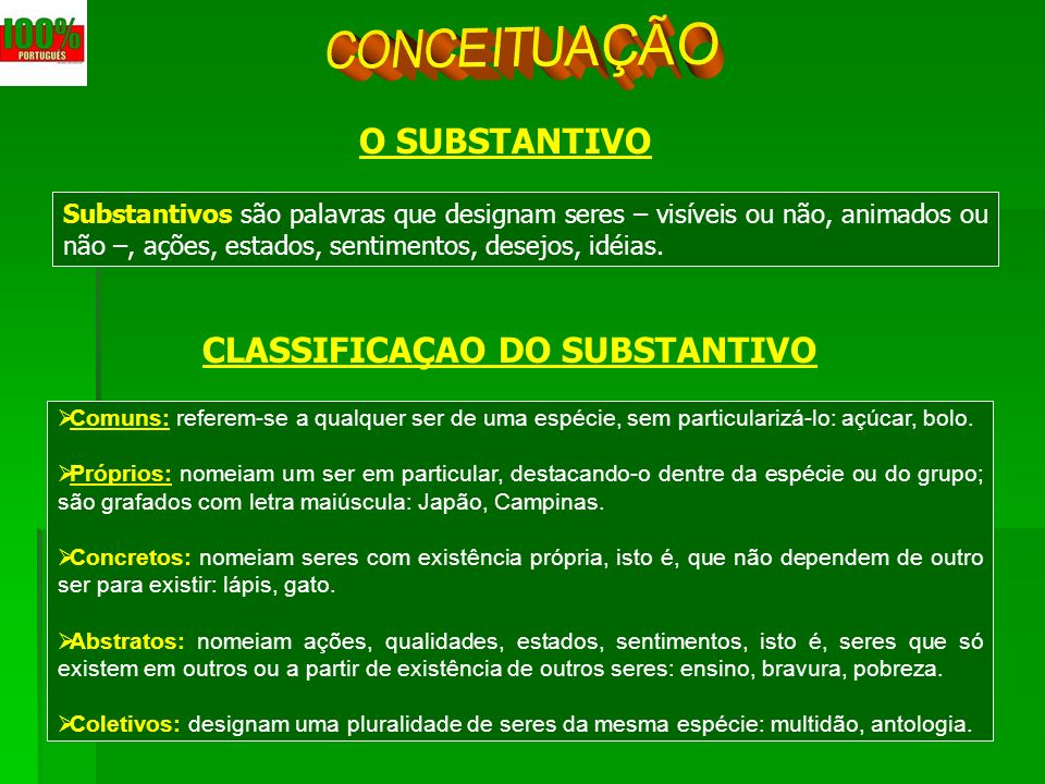 CLASSIFICAÇAO DO SUBSTANTIVO