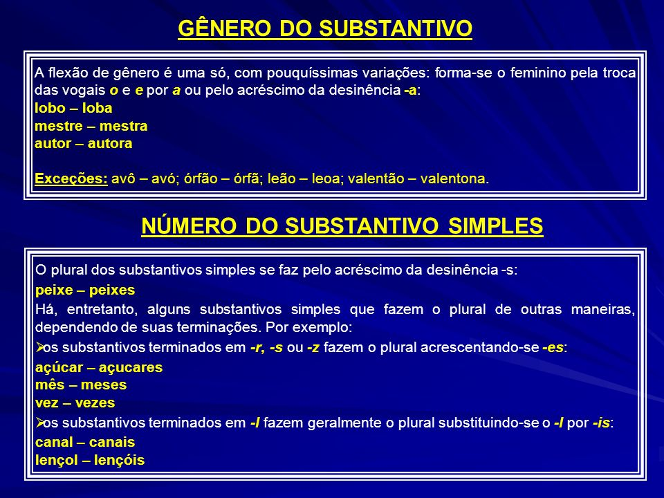 NÚMERO DO SUBSTANTIVO SIMPLES