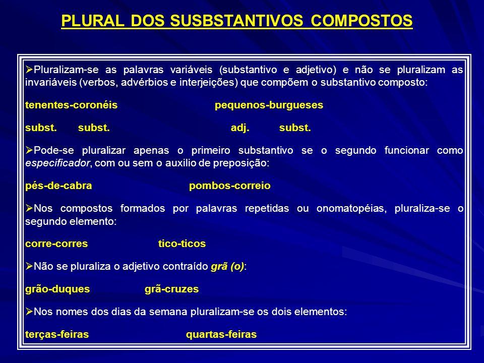 PLURAL DOS SUSBSTANTIVOS COMPOSTOS