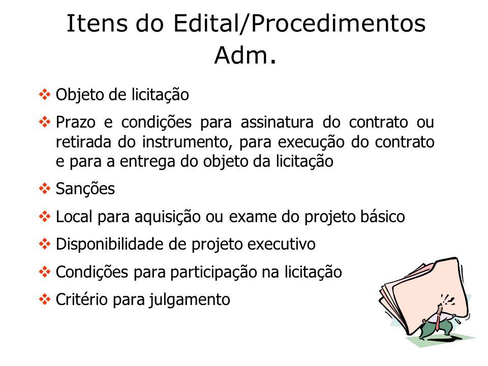 Itens do Edital/Procedimentos Adm.