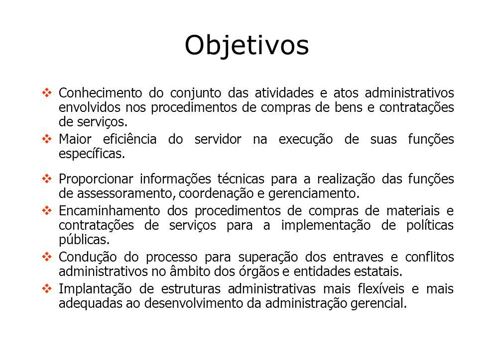Objetivos Conhecimento do conjunto das atividades e atos administrativos envolvidos nos procedimentos de compras de bens e contratações de serviços.
