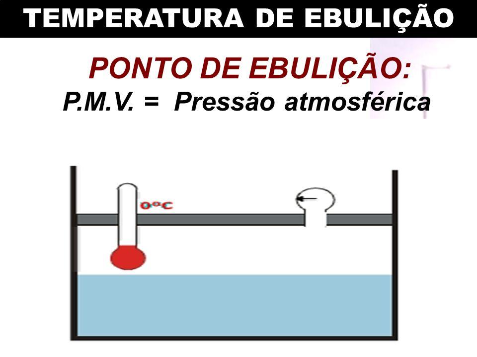 TEMPERATURA DE EBULIÇÃO P.M.V. = Pressão atmosférica