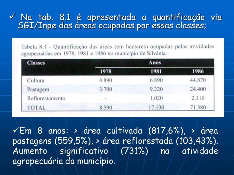 Na tab. 8.1 é apresentada a quantificação via SGI/Inpe das áreas ocupadas por essas classes;