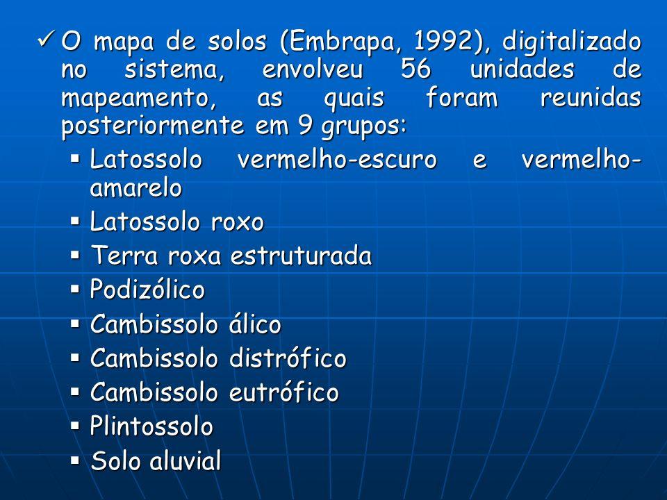 O mapa de solos (Embrapa, 1992), digitalizado no sistema, envolveu 56 unidades de mapeamento, as quais foram reunidas posteriormente em 9 grupos: