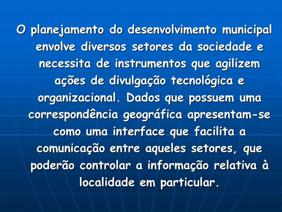 O planejamento do desenvolvimento municipal envolve diversos setores da sociedade e necessita de instrumentos que agilizem ações de divulgação tecnológica e organizacional.