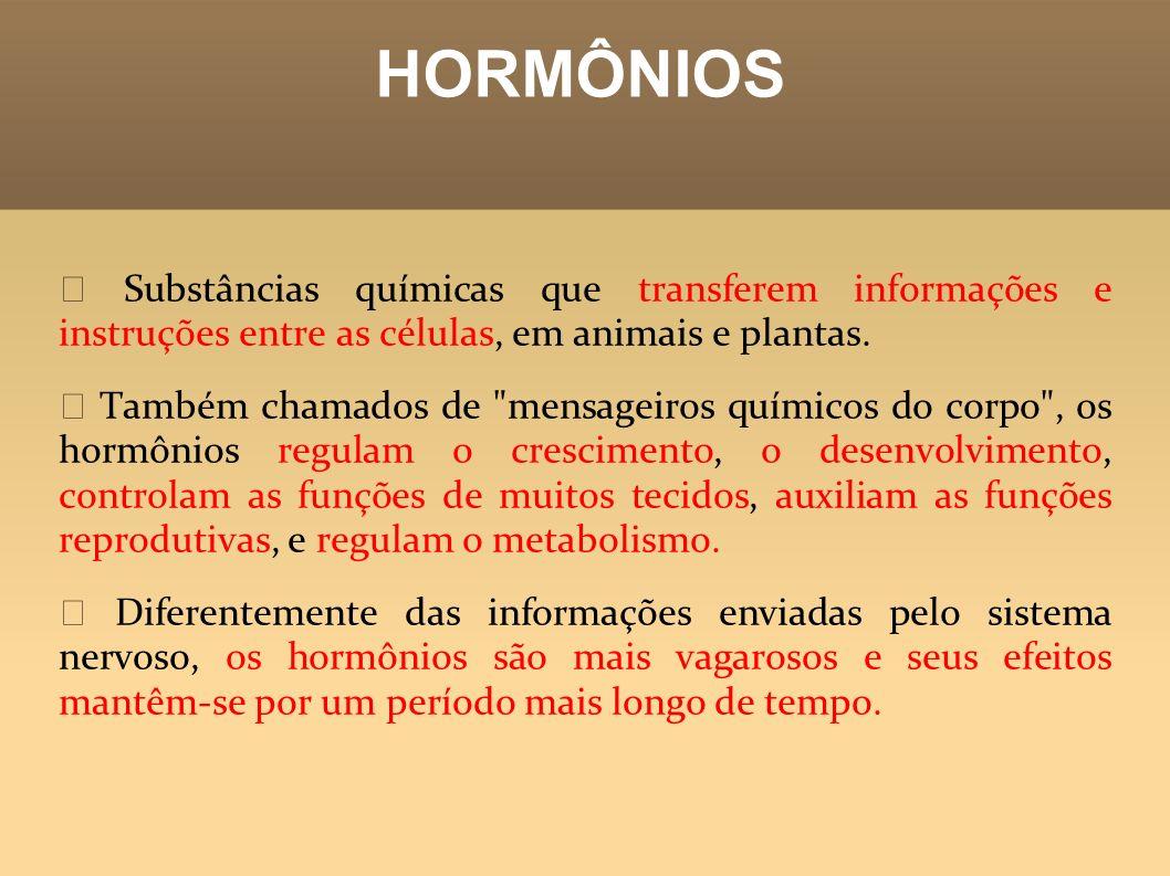 HORMÔNIOS ꙮ Substâncias químicas que transferem informações e instruções entre as células, em animais e plantas.