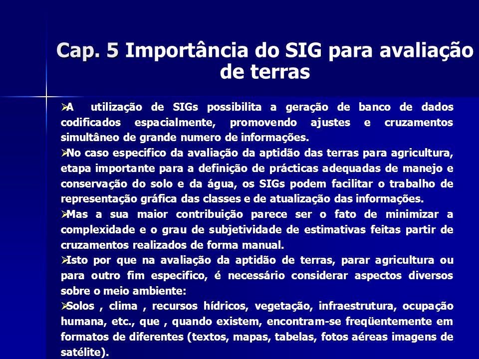 Cap. 5 Importância do SIG para avaliação de terras