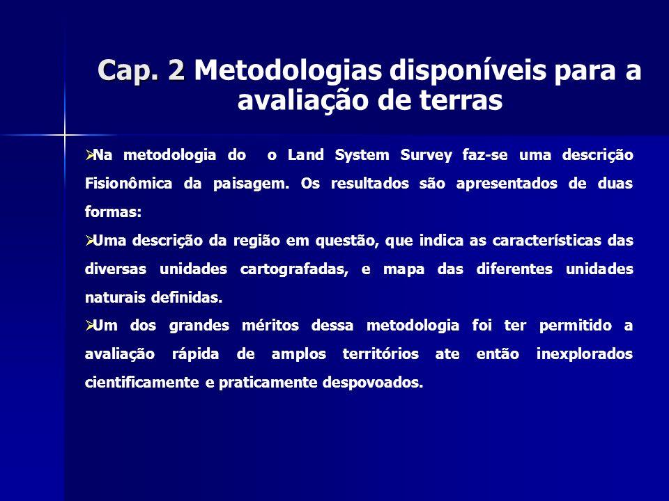 Cap. 2 Metodologias disponíveis para a avaliação de terras