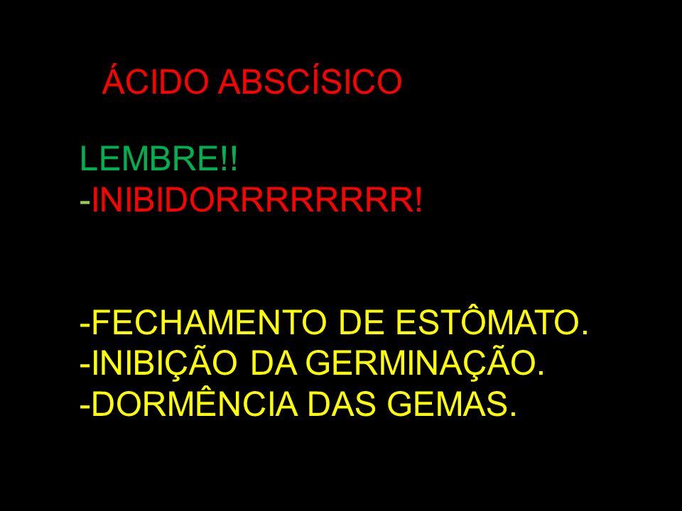 AÁCIDO ABSCÍSICO LEMBRE!. -INIBIDORRRRRRRR. -FECHAMENTO DE ESTÔMATO.