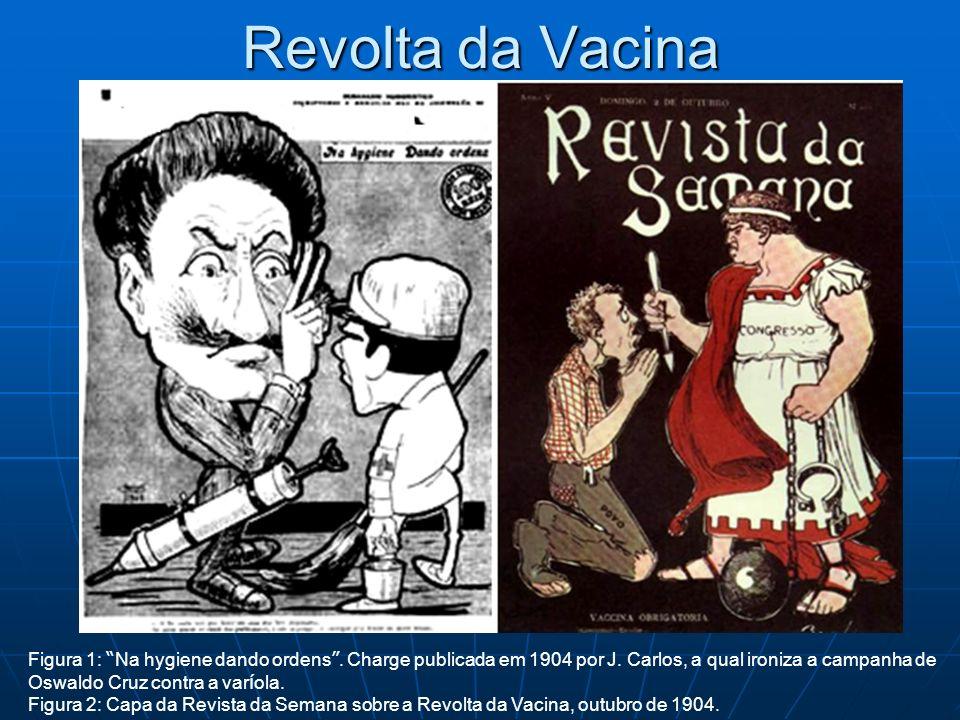 Revolta da Vacina Figura 1: Na hygiene dando ordens . Charge publicada em 1904 por J. Carlos, a qual ironiza a campanha de.