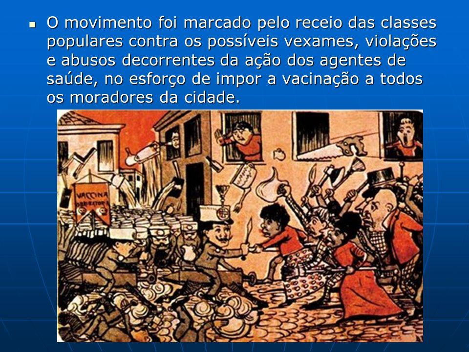 O movimento foi marcado pelo receio das classes populares contra os possíveis vexames, violações e abusos decorrentes da ação dos agentes de saúde, no esforço de impor a vacinação a todos os moradores da cidade.