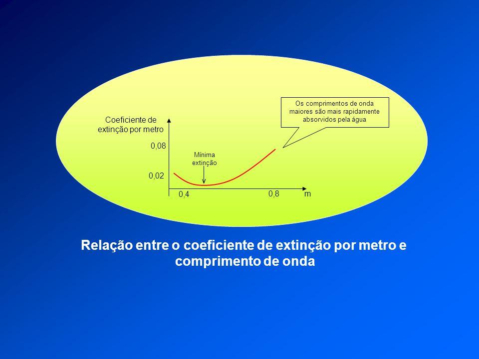 Relação entre o coeficiente de extinção por metro e