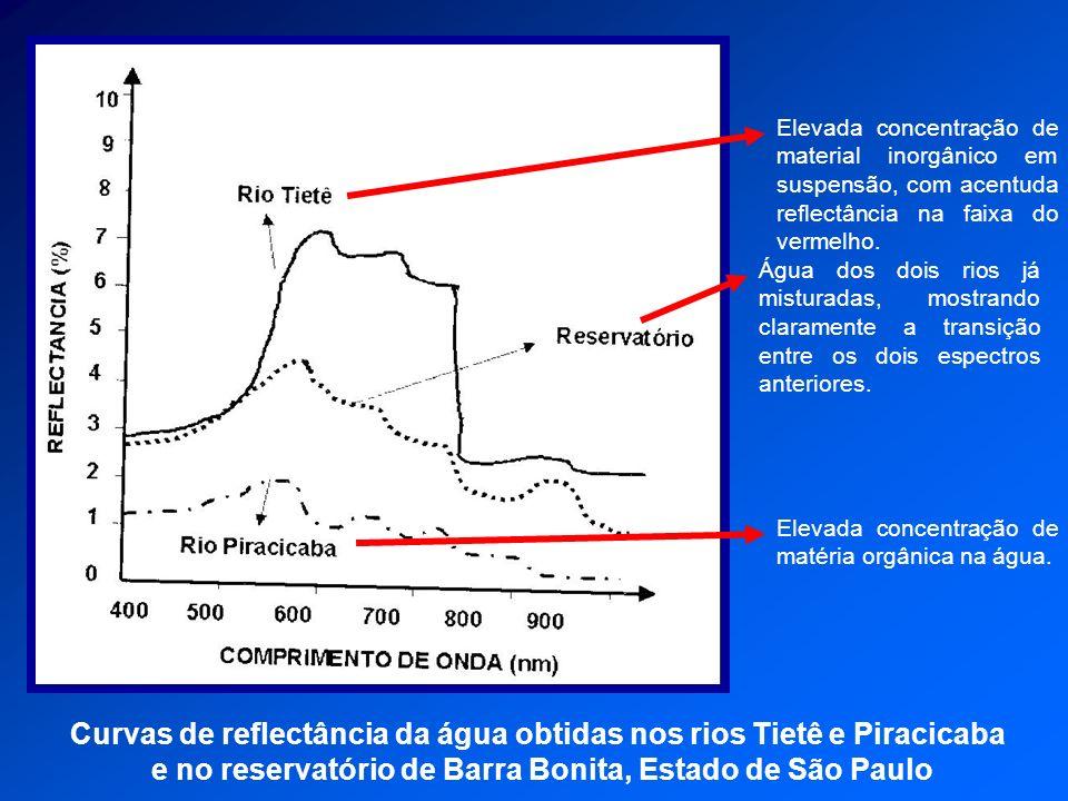 Curvas de reflectância da água obtidas nos rios Tietê e Piracicaba