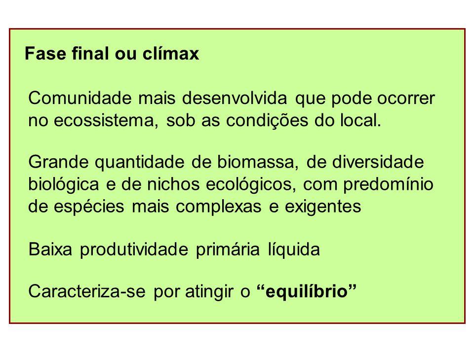 Fase final ou clímax Comunidade mais desenvolvida que pode ocorrer. no ecossistema, sob as condições do local.