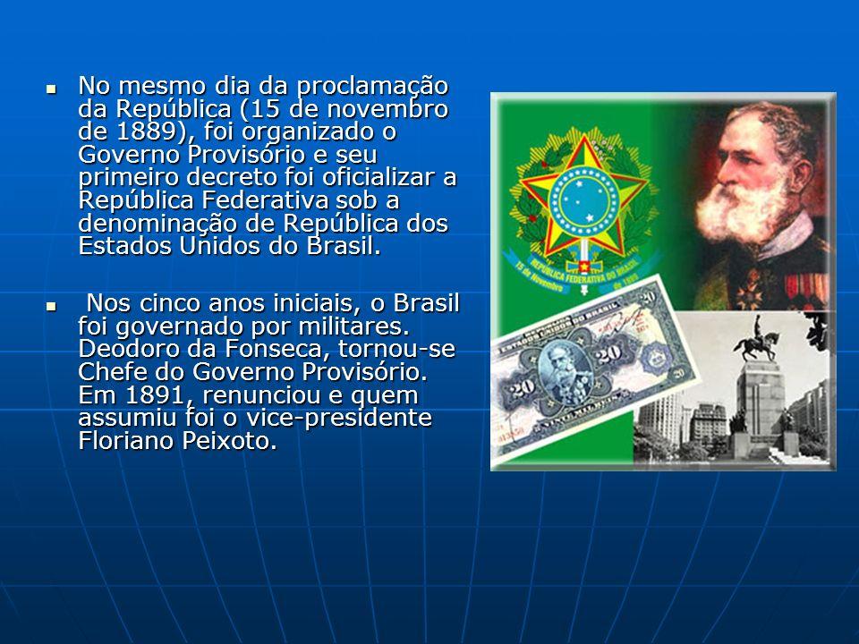 No mesmo dia da proclamação da República (15 de novembro de 1889), foi organizado o Governo Provisório e seu primeiro decreto foi oficializar a República Federativa sob a denominação de República dos Estados Unidos do Brasil.