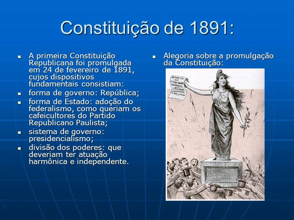 Constituição de 1891: A primeira Constituição Republicana foi promulgada em 24 de fevereiro de 1891, cujos dispositivos fundamentais consistiam: