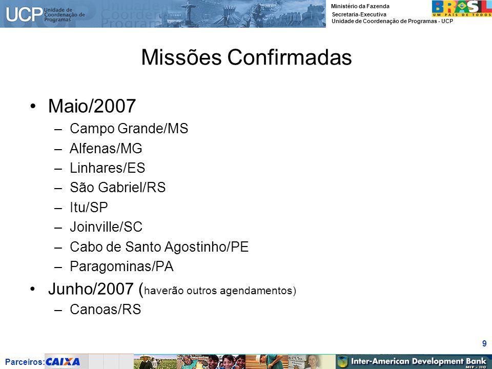 Missões Confirmadas Maio/2007 Junho/2007 (haverão outros agendamentos)