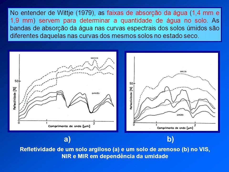 No entender de Wittje (1979), as faixas de absorção da água (1,4 mm e 1,9 mm) servem para determinar a quantidade de água no solo. As bandas de absorção da água nas curvas espectrais dos solos úmidos são diferentes daquelas nas curvas dos mesmos solos no estado seco.