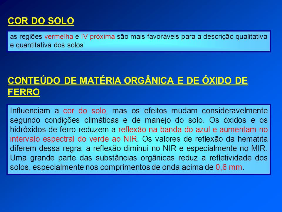CONTEÚDO DE MATÉRIA ORGÂNICA E DE ÓXIDO DE FERRO