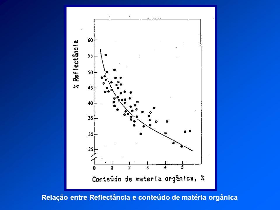 Relação entre Reflectância e conteúdo de matéria orgânica