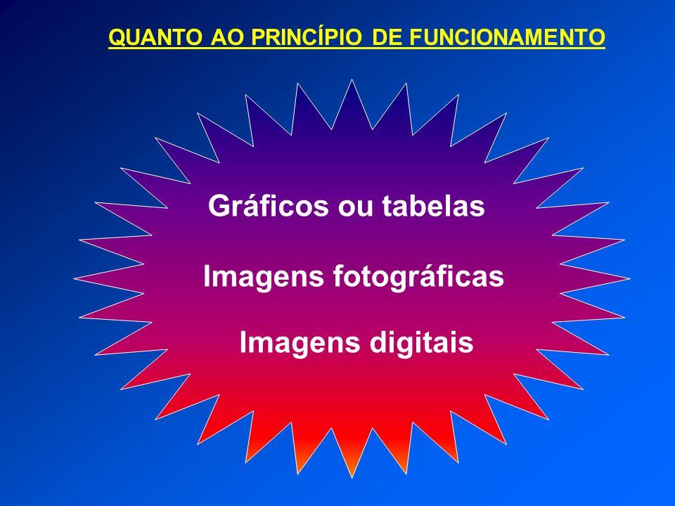 Gráficos ou tabelas Imagens fotográficas Imagens digitais