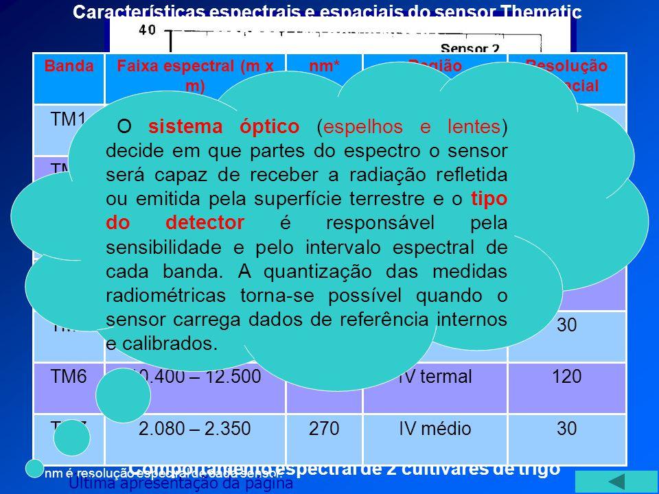 30 IV médio. 270. 2.080 – 2.350. TM7. 120. IV termal. 2.100. 10.400 – 12.500. TM6. 200. 1.550 – 1.750.