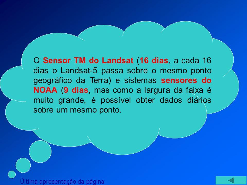 O Sensor TM do Landsat (16 dias, a cada 16 dias o Landsat-5 passa sobre o mesmo ponto geográfico da Terra) e sistemas sensores do NOAA (9 dias, mas como a largura da faixa é muito grande, é possível obter dados diários sobre um mesmo ponto.