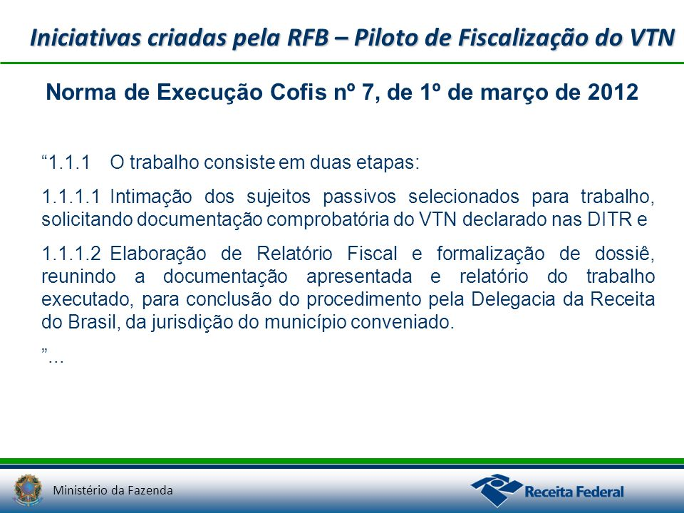 Iniciativas criadas pela RFB – Piloto de Fiscalização do VTN
