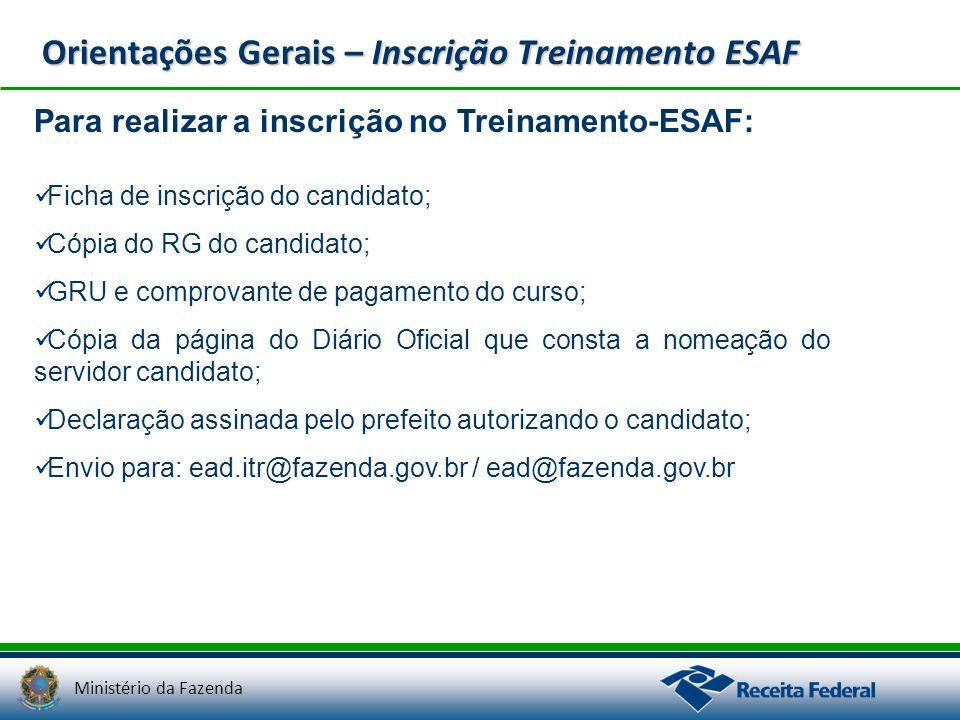 Orientações Gerais – Inscrição Treinamento ESAF
