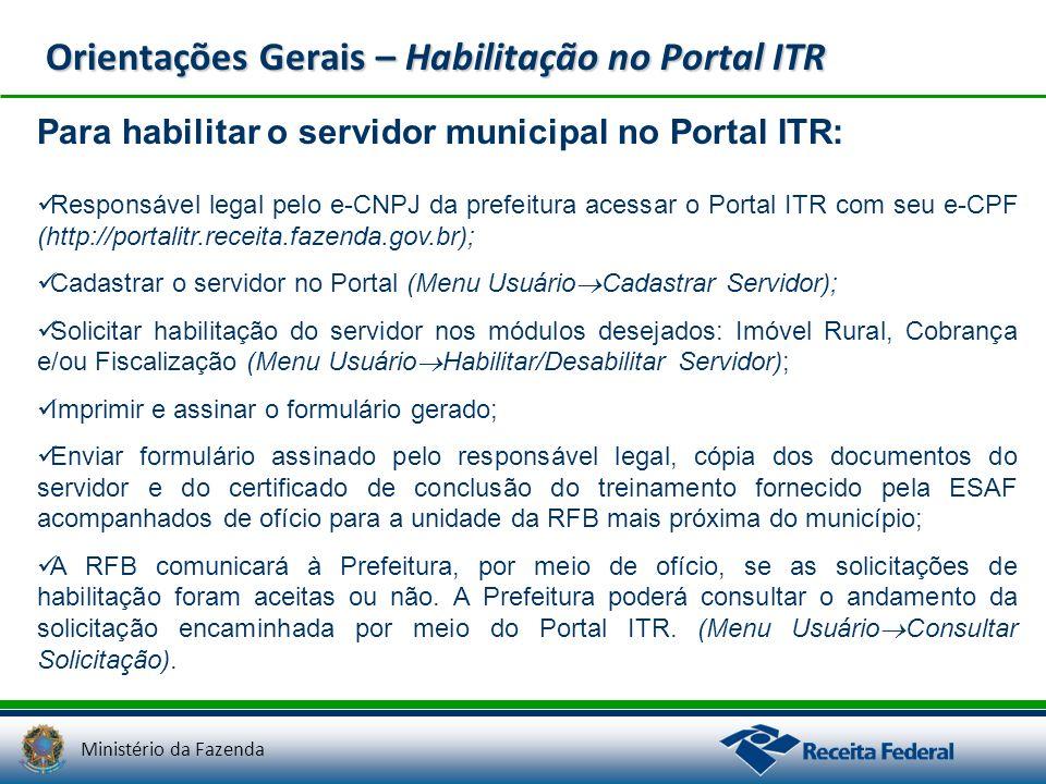 Orientações Gerais – Habilitação no Portal ITR
