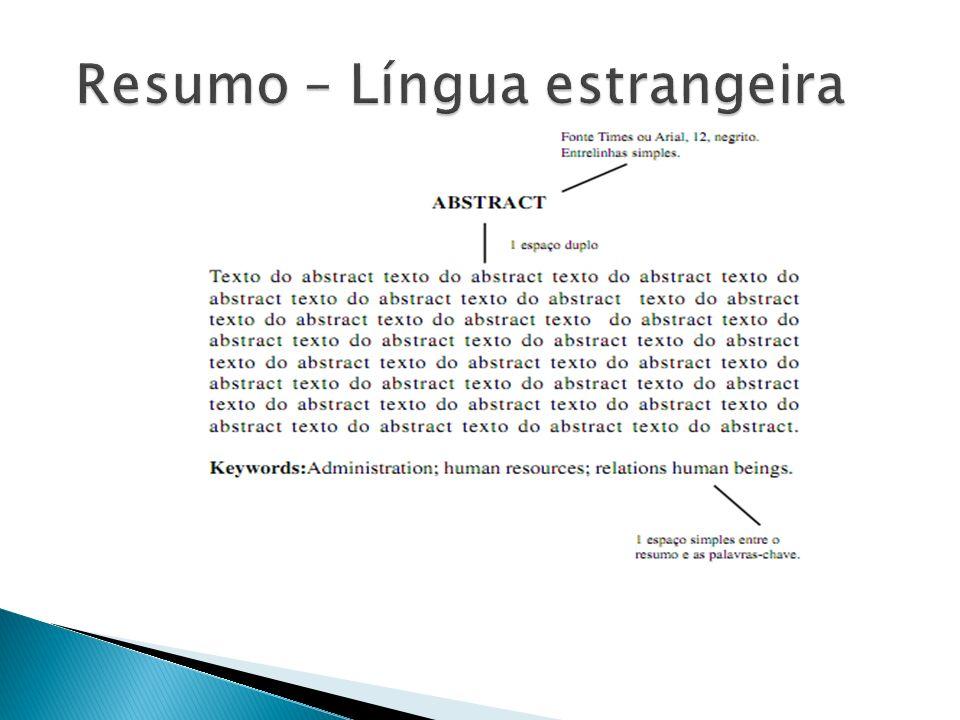 Resumo – Língua estrangeira