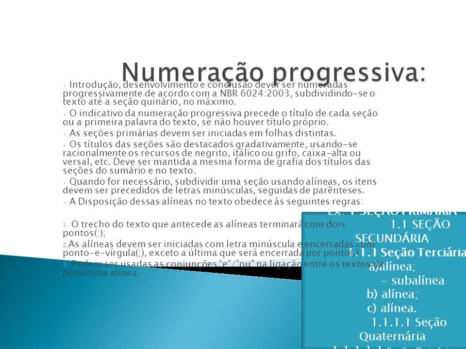 Numeração progressiva: