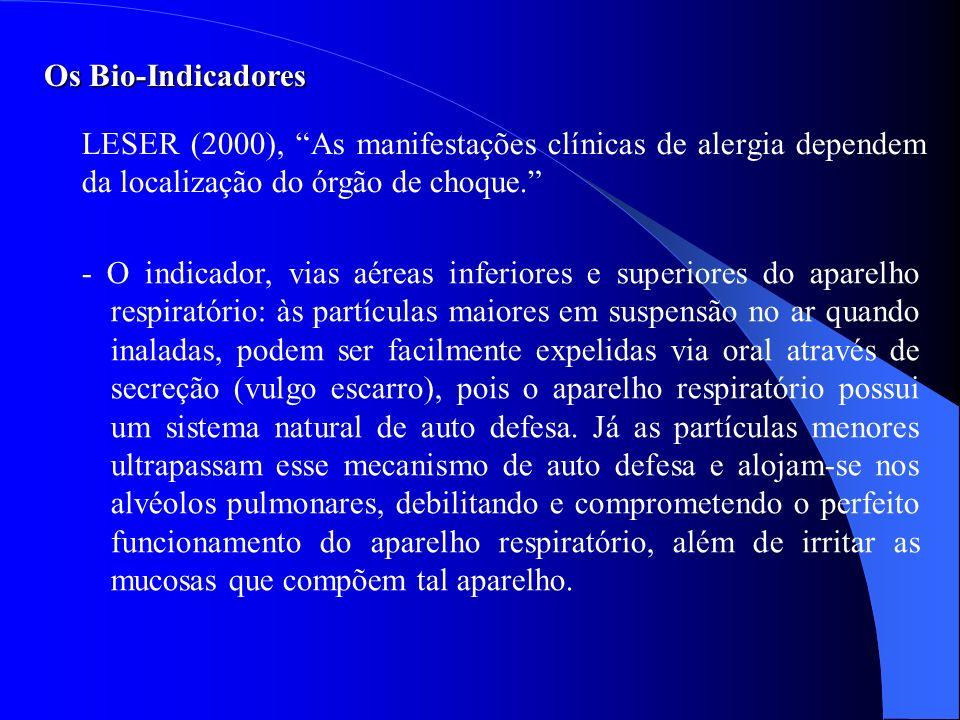 Os Bio-IndicadoresLESER (2000), As manifestações clínicas de alergia dependem da localização do órgão de choque.