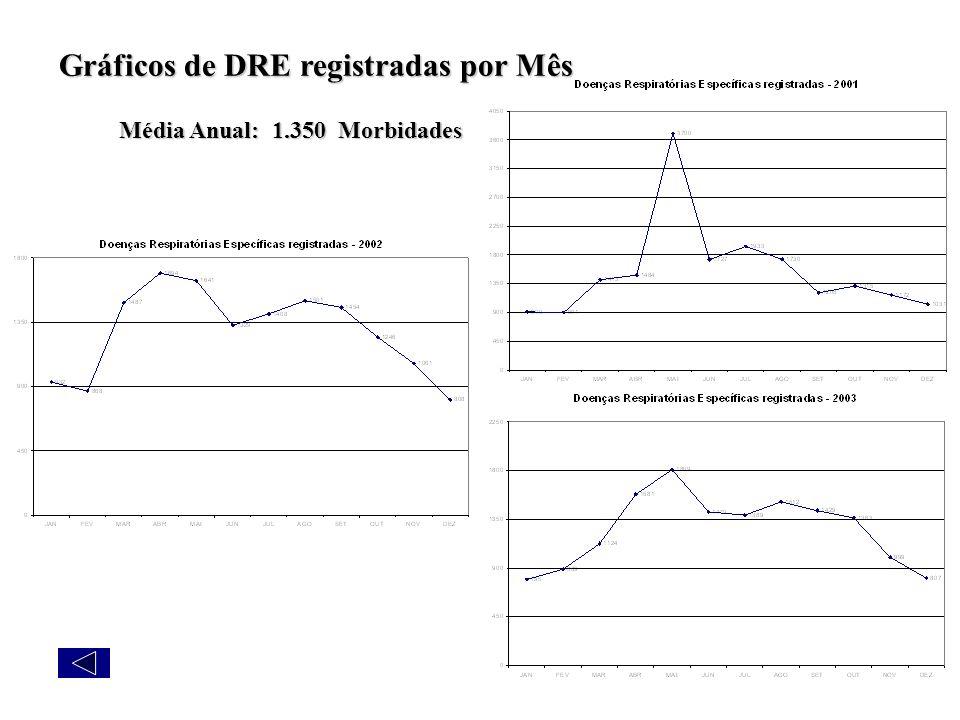 Gráficos de DRE registradas por Mês