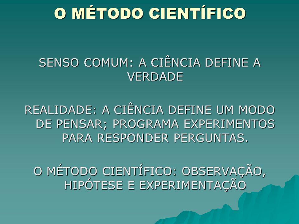 O MÉTODO CIENTÍFICO SENSO COMUM: A CIÊNCIA DEFINE A VERDADE
