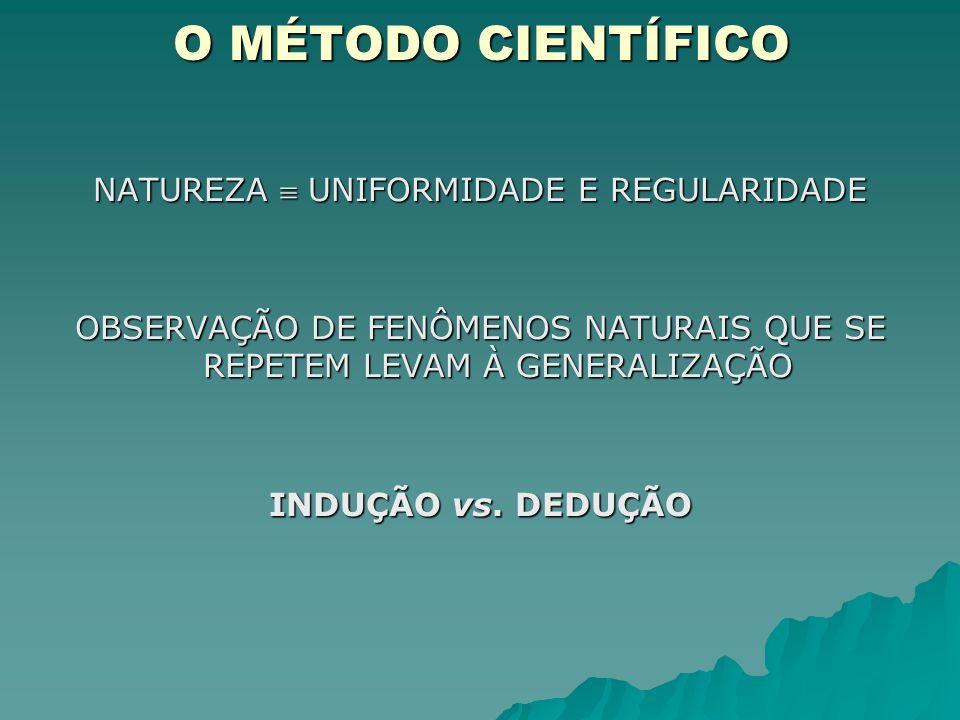 O MÉTODO CIENTÍFICO NATUREZA  UNIFORMIDADE E REGULARIDADE