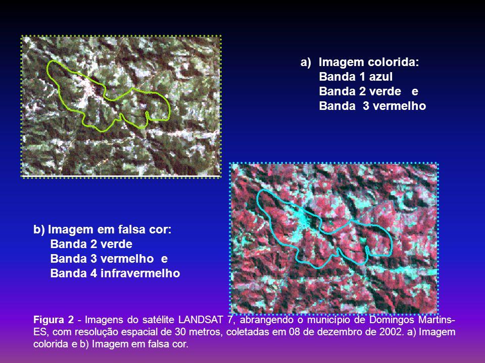Imagem colorida: Banda 1 azul Banda 2 verde e Banda 3 vermelho