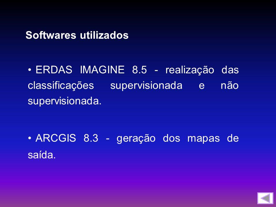 Softwares utilizados ERDAS IMAGINE 8.5 - realização das classificações supervisionada e não supervisionada.