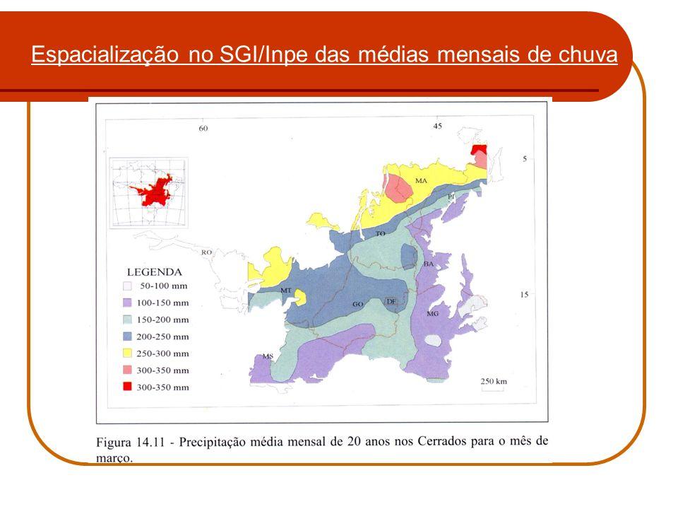 Espacialização no SGI/Inpe das médias mensais de chuva