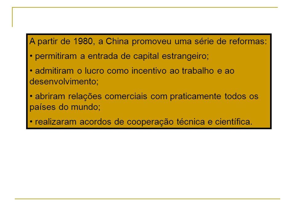 A partir de 1980, a China promoveu uma série de reformas: