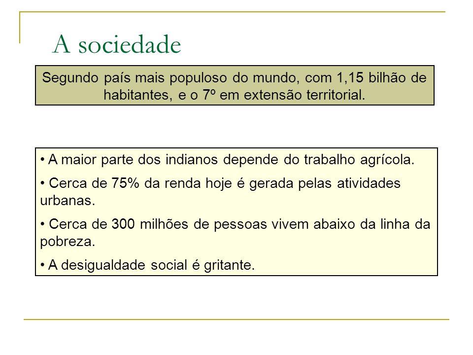 A sociedade Segundo país mais populoso do mundo, com 1,15 bilhão de habitantes, e o 7º em extensão territorial.