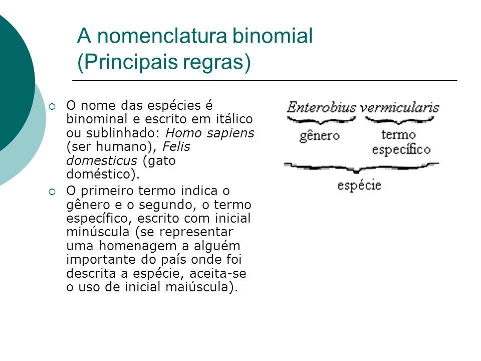 A nomenclatura binomial (Principais regras)
