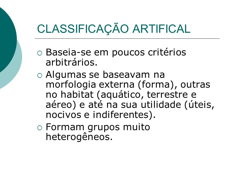 CLASSIFICAÇÃO ARTIFICAL