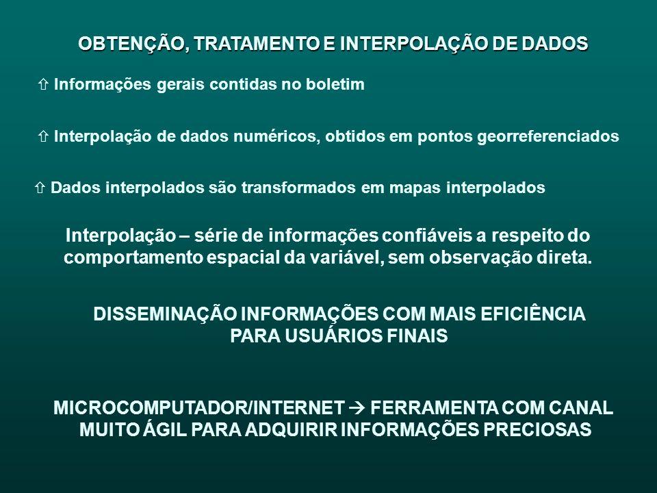 OBTENÇÃO, TRATAMENTO E INTERPOLAÇÃO DE DADOS