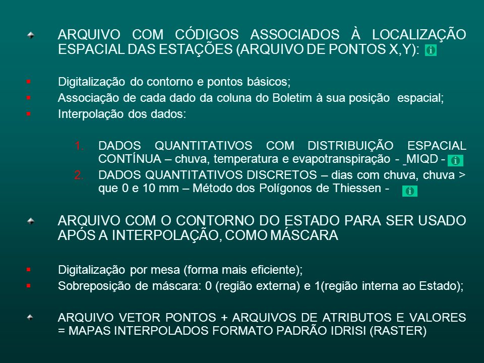ARQUIVO COM CÓDIGOS ASSOCIADOS À LOCALIZAÇÃO ESPACIAL DAS ESTAÇÕES (ARQUIVO DE PONTOS X,Y):
